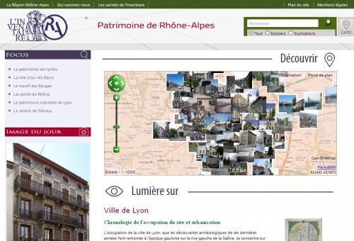 Page d'accueil du nouveau site de l'Inventaire du patrimoine culturel de Rhône-Alpes