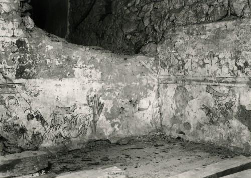 Les peintures au moment de leur découverte : scène de chasse à courre