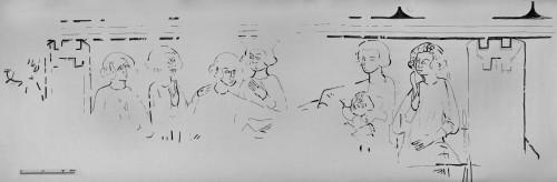 [Cliquez pour zoomer] Le relevé des peintures murales : la scène du banquet