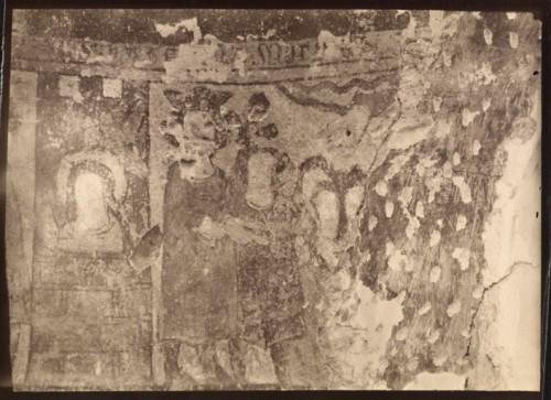 Grézieux-le-Fromental (Loire). Ancienne église paroissiale (détruite), peintures murales (détruites). Supplice des philosophes. Photographie d'E. Brassart (?), 1889 (Bibl. Diana, Montbrison. Fonds Brassart, cote 5081) (Eric Dessert © Région Rhône-Alpes, Inventaire général du patrimoine culturel, 2008 – ADAGP ; © Bibliothèque de la Diana)