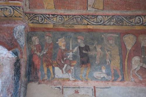 Hérode et le Massacre des Innocents. Chapelle Saint-Paul (anc. Notre-Dame du Sou) à Lacenas dans le Rhône. Photographie de Véronique Belle.