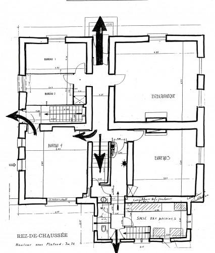 Plan du rez-de-chaussée (archives UNS).