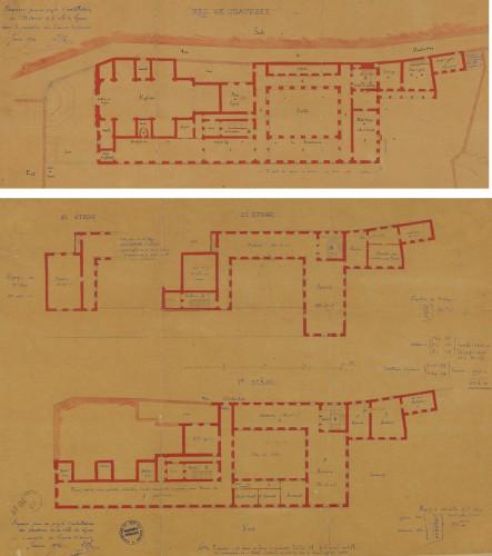 Ill. 2. Esquisse pour un projet d'installation des archives dans le monastère des carmes déchaussés / Léon Charvet. 1874 (© AD Rhône, 3 Pl. 534 a et b - Repr. Th. Leroy, Région Rhône-Alpes)