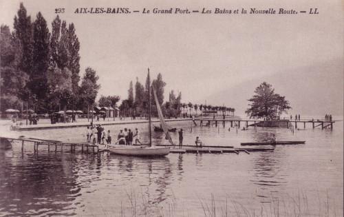 ARTICLE-LAC - LL n°293c - Le Grand port - Les Bains et la Nouvelle Route - vers 1928. Retaillée