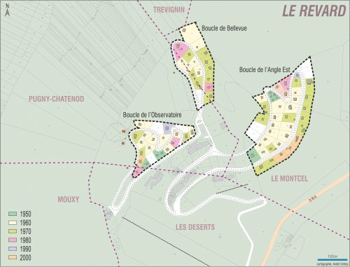 Carte chronologique de la construction des lots des boucles (André Céréza - 2016 © Région Auvergne-Rhône-Alpes, Inventaire général du patrimoine culturel © Ville d'Aix-les-Bains)