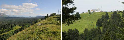 A gauche : le couvert forestier qui abrite le domaine nordique (Jean-Pierre Petit - 2016). A droite : piste de l'Observatoire et ancienne gare du téléphérique implantée au sommet (Eric Dessert © Région Rhône-Alpes, Inventaire général du patrimoine culturel © Parc naturel régional du Massif des Bauges ; 2014 - ADAGP)