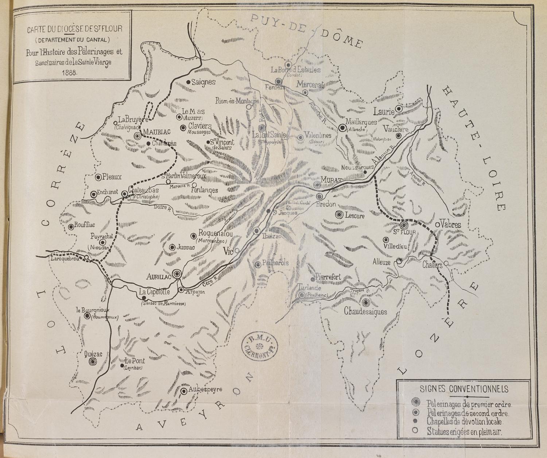 Fig.2. Carte du diocèse de Saint-Flour en 1888 indiquant les lieux de pèlerinage et les chapelles dédiées à la Vierge, ainsi que les statues de plein air