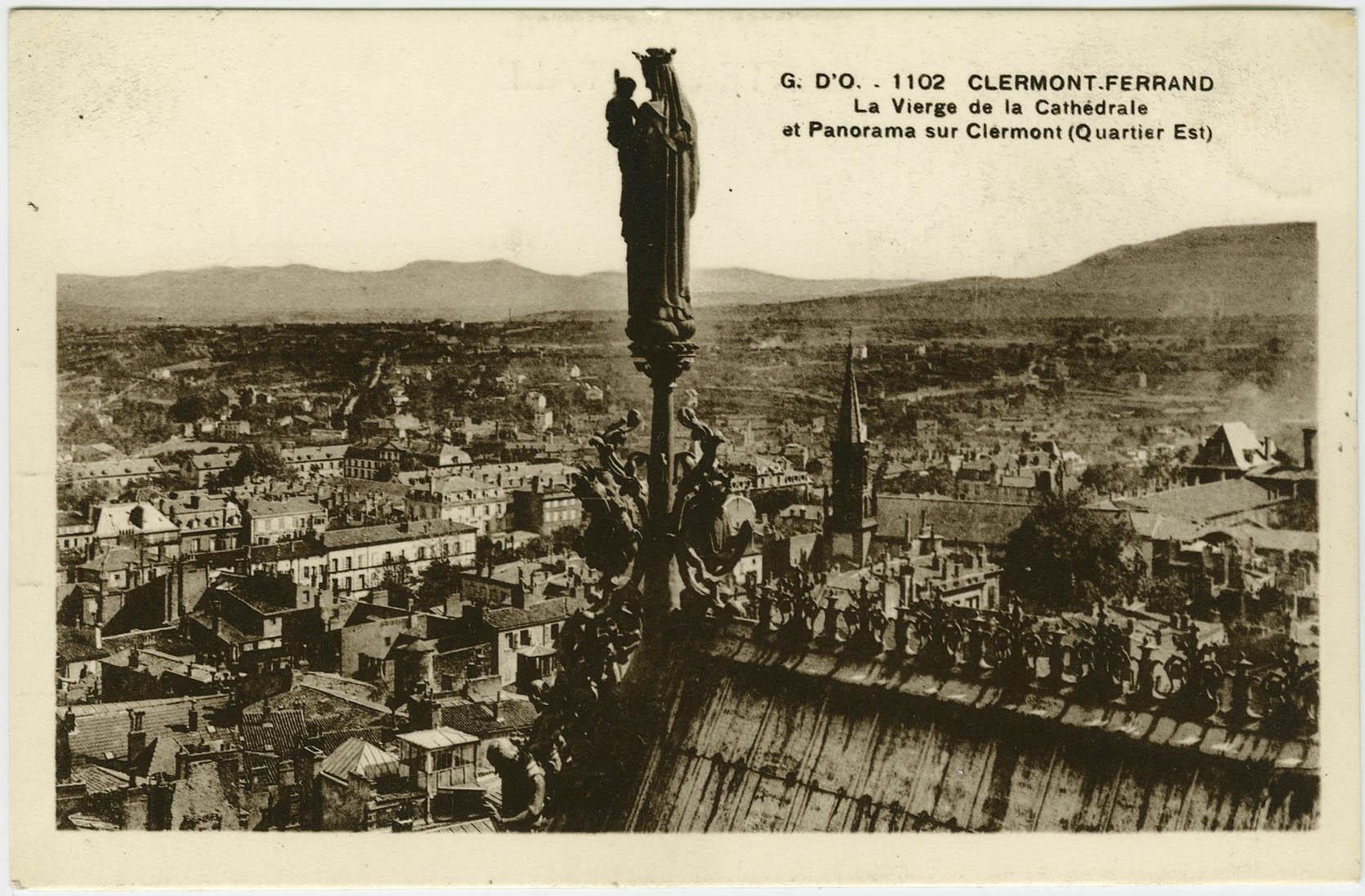 Fig.3. La Vierge de la cathédrale et panorama sur Clermont-Ferrand (quartier est). Carte postale, vers 1910, coll. part. Repro. Christian Parisey © Région Auvergne-Rhône-Alpes, IGPC, 2016.