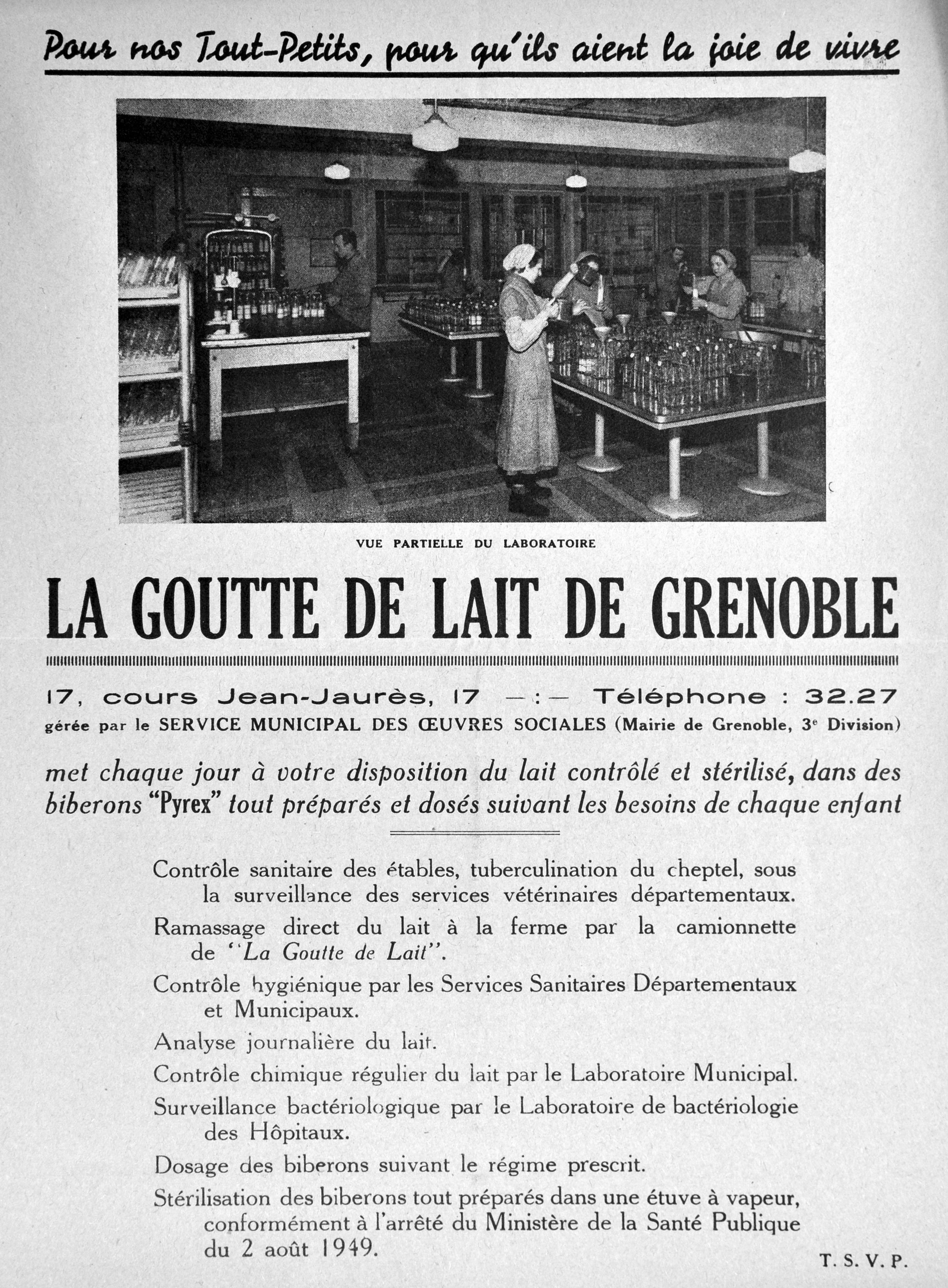 Prospectus de la Goutte de lait, v. 1950