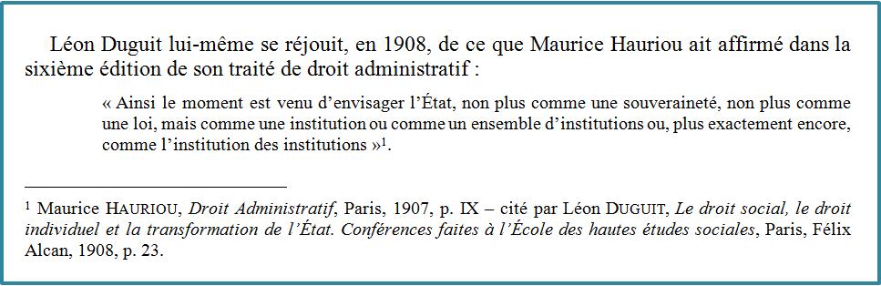 Duguit cite Hauriou