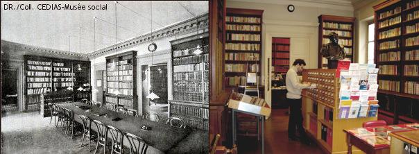 Salle de lecture en 1898 - Salle des catalogues aujourd'hui (bibliothèque du Musée social)
