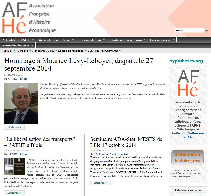 Carnet de recherche de l'AFHE sur Hypotheses.org
