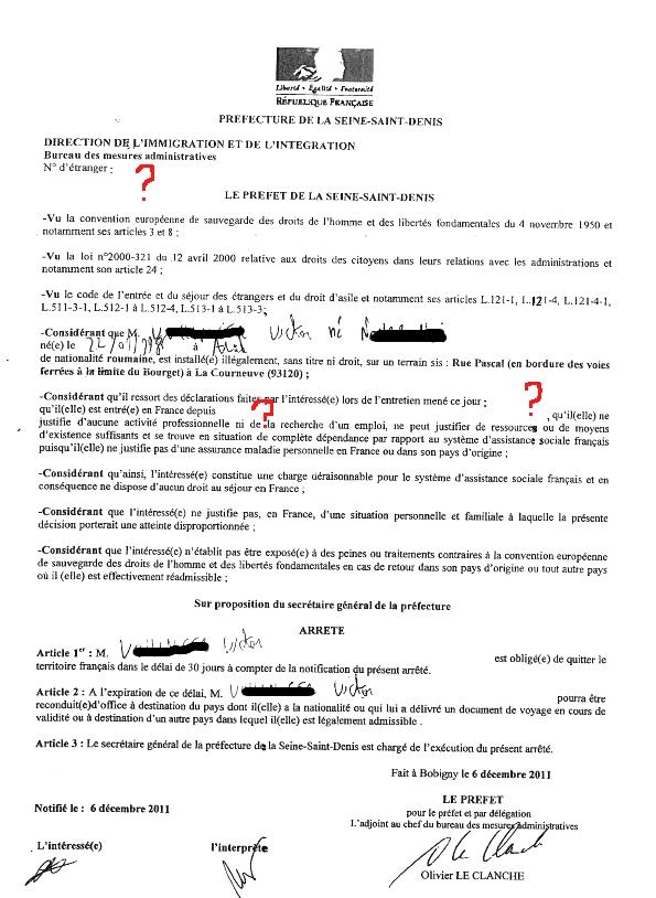 OQTF du 6 décembre 2011 notifiée à La Courneuve