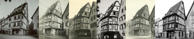 Montage de 5 vues de l'immeuble du 27, quai des Bateliers à Strasbourg, de 1911 à nos jours