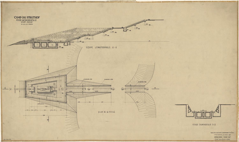 Plan et coupe de l'avant-projet de Bertrand Monnet pour la réalisation d'une fosse monumentale, octobre 1951 (fonds Denkmalarchiv).