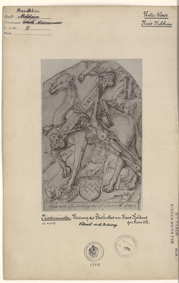 Reproduction d'un original de Hans Baldung Grien datant de 1512, projet pour la verrière de la Légende de la Croix (fonds Denkmalarchiv).