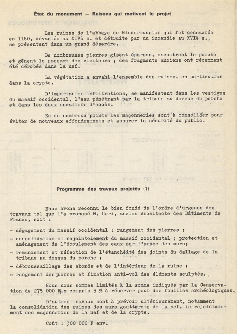 Rapport de projet de travaux, Bertrand Monnet, 1977, mettant en avant l'abandon et la détérioration du site, et légitimant les les volontés de protection et de restauration (fonds de dossiers de travaux, CRMH)