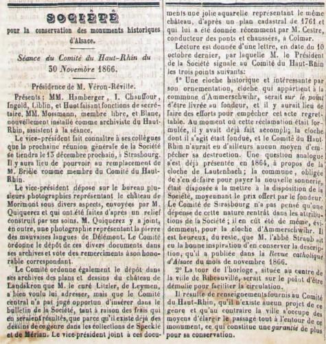 Compte-rendu de sance du comité de la SCMHA mentionnant les travaux d'A Straub relatifs à la campanologie. Journal du Haut-Rhin, 9 décembre 1866 (Bibliothèque du Grand Séminaire)