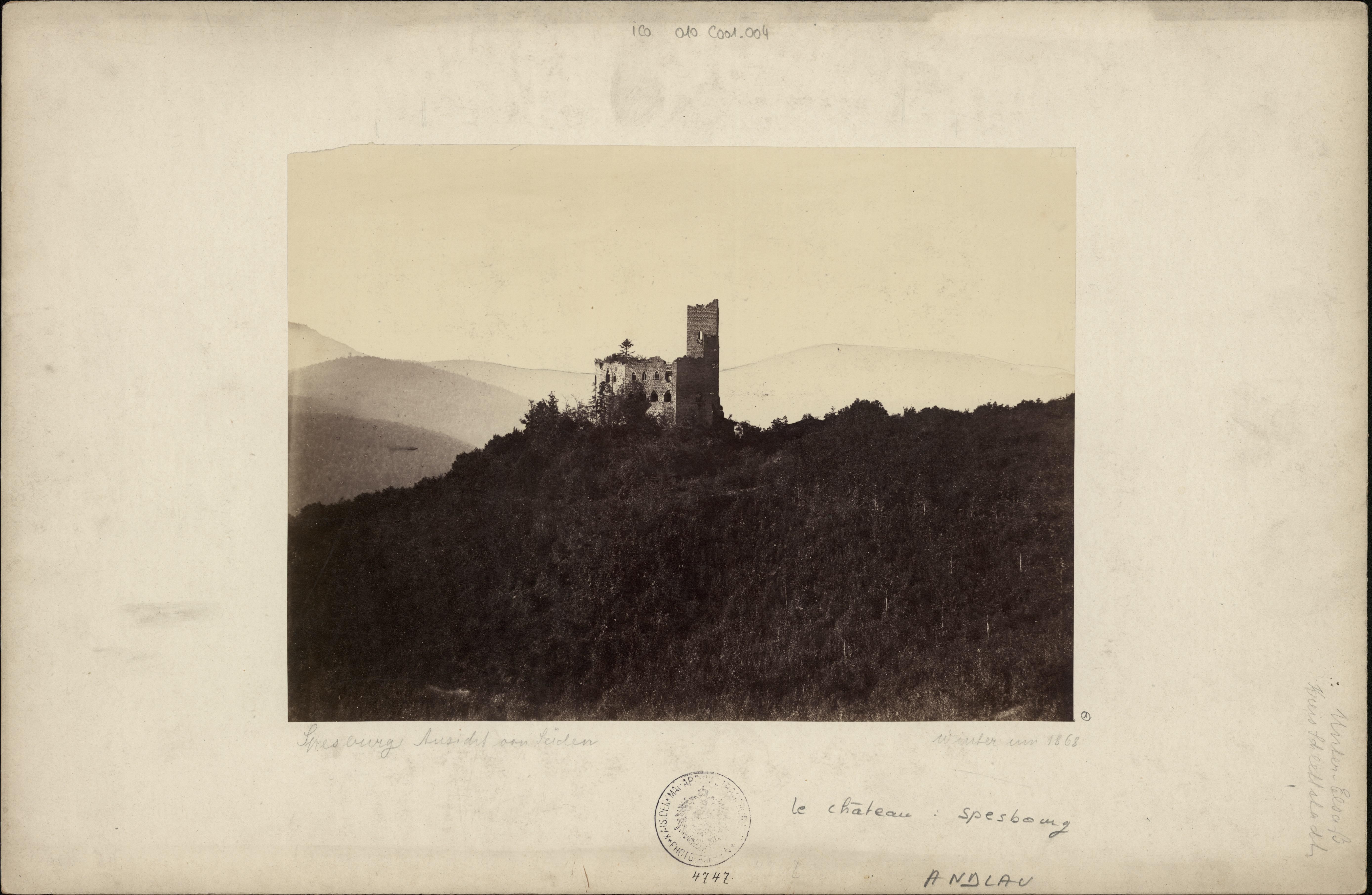 Château du Spesbourg à Andlau. S.n., 1868 (Denkmalarchiv, © DRAC Alsace)