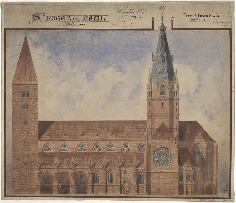 Église Saint-Pierre-et-Paul à Wissembourg, projet pour la rénovation de la tour de croisée. Auteur : Charles Winkler, 1875 (Denkmalarchiv, DRAC Alsace)