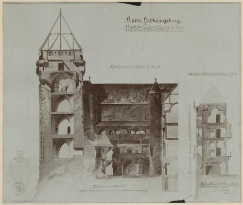 Projet de restitution du château du Haut-Koenigsbourg. Auteur : Charles Winkler, 1874 (Denkmalarchiv, DRAC Alsace)