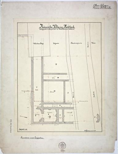 Plan de la villa gallo-romaine de Koestlach. Auteur : K. Gutmann, 1904 (Denkmalarchiv, © DRAC Alsace)