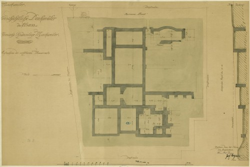 Plan du site gallo-romain de Mackwiller. Auteur : Zigan, 1906 (Denkmalarchiv, DRAC Alsace)