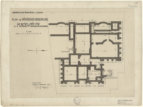 Plan du site gallo-romain de Mackwiller. Auteur : P.E. Zigan, 1911 (Denkmalarchiv, DRAC Alsac)