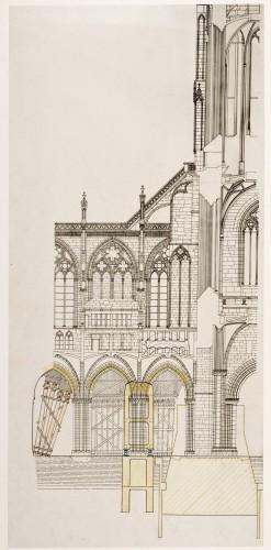Élévation du projet d'étaiement des arcatures et du premier pilier de la nef côté nord avec pilier de la tour. S.n., 1924 ? ( (c) Fondation de l'Œuvre Notre-Dame, Strasbourg)
