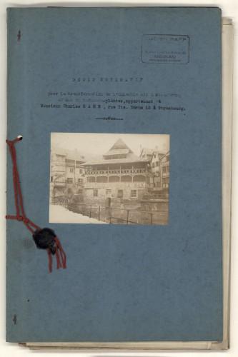 Devis pour la transformation de la Maison des Tanneurs au 42, rue du Bain-aux-Plantes à Strasbourg. Auteur : Lucien Rapp, 1927 (Archives départementales du Bas-Rhin, 178 AL 82)