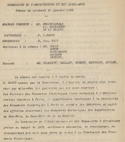 Commission de l'Architecture et des Beaux-Arts : compte-rendu de la séance du 31 janvier 1925 (Archives départementales du Bas-Rhin, 178 AL 11)