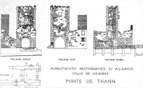 Relevé de la porte de Thann à Cernay dans son état de 1919. Auteur : Paul Gélis, s.d. (Denkmalarchiv, DRAC Alsace)