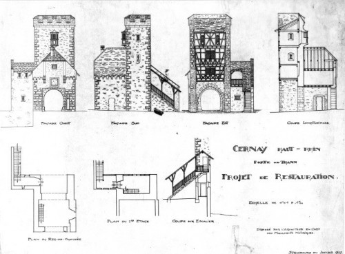 Projet de restauration de la porte de Thann à Cernay dans l'état supposé du XIIIe s. Auteur : Paul Gélis, 1927 (Denkmalarchiv, DRAC Alsace)