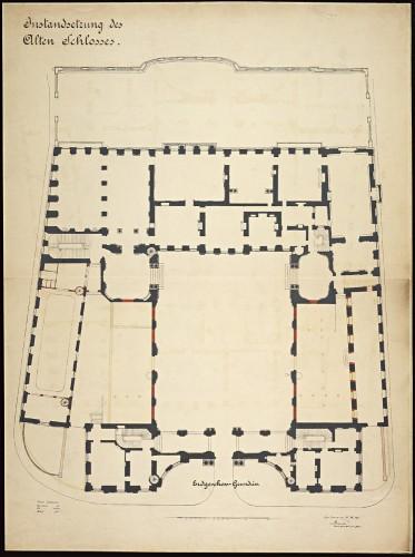 Plan du rez-de-chaussée du Palais Rohan à Strasbourg, aménagement des ailes est et ouest. Auteur : Johann Knauth, 1907 (Denkmalarchiv, DRAC Alsace)