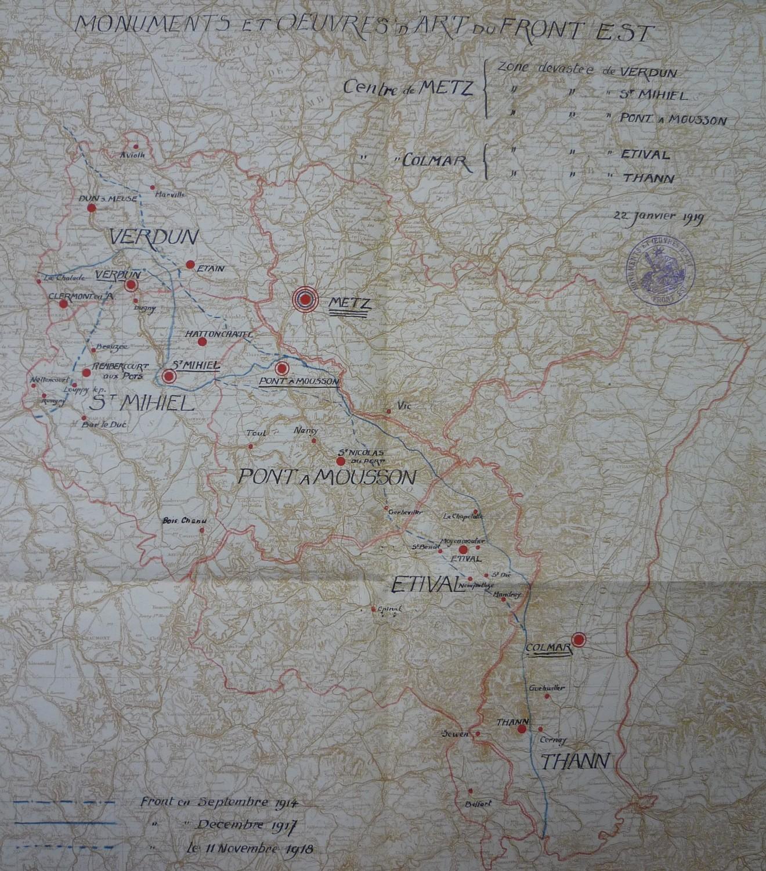 Monuments et œuvres d'art du Front Est : organisation du service par zones dévastées. Carte jointe au rapport 803 du 22 janvier 1919 (© Médiathèque de l'architecture et du patrimoine, Paris)