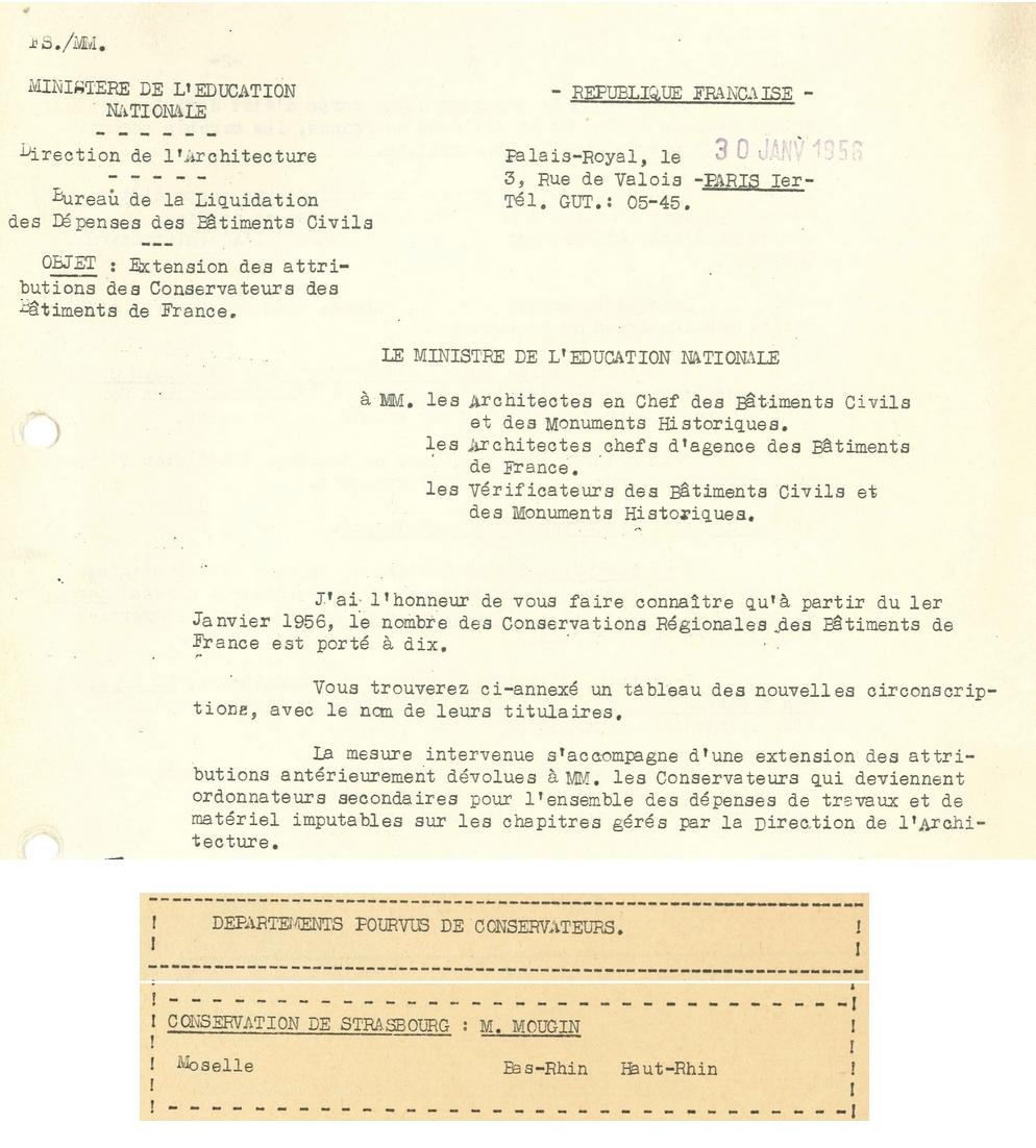 Lettre du Ministre en date du 30 janvier 1956 relative à l'extension des attributions des conservateurs de bâtiments de France