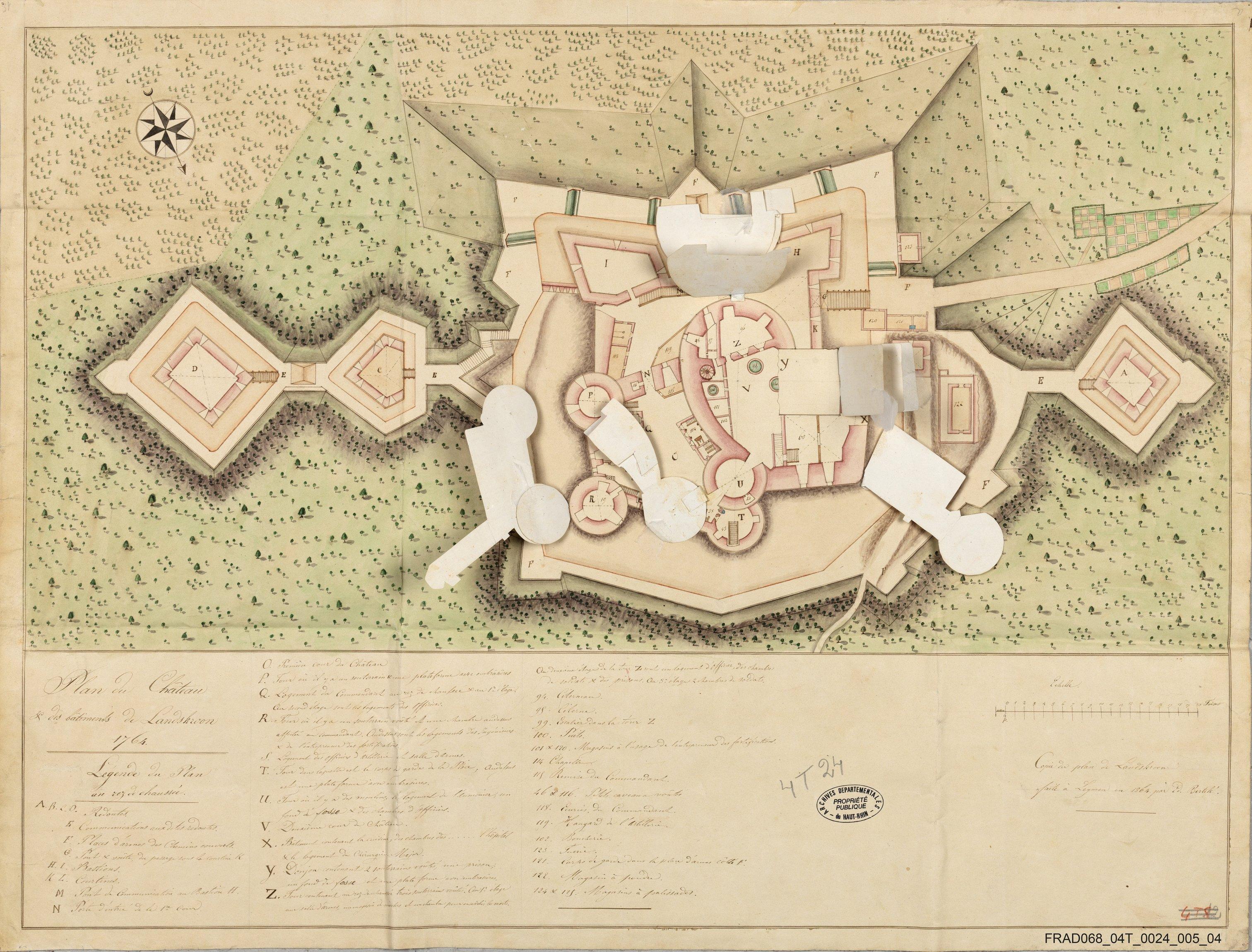 Copie du plan du Landskron faite à Leymen en 1864 par Bertelé. Archives départementales du Haut-Rhin.