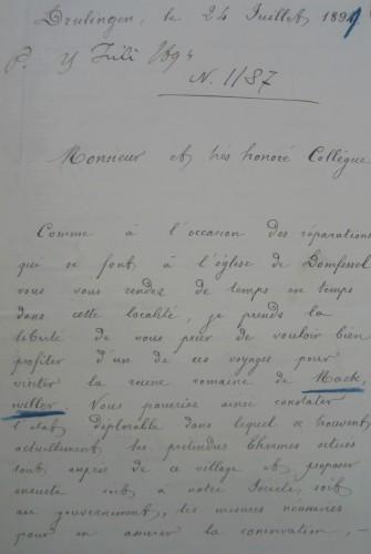 Extrait de la lettre d'Henri Schlosser à Charles Winkler, Drulingen, le 24 juillet 1894. Archives départementales du Bas-Rhin, 175 AL 149 (fonds DRAC Alsace).