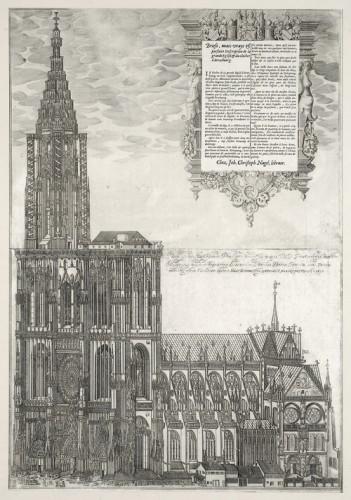 Vue de la cathédrale et des maisons attenantes. Auteur : Isaac Brun, 1615 (Musée/Fondation de l'Œuvre Notre-Dame)