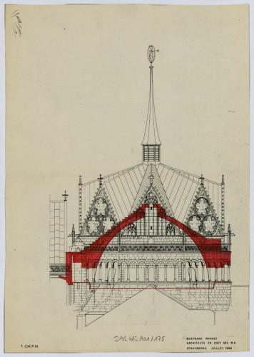 Tour de croisée, projet de reconstruction, 1968. Auteur : Bertrand Monnet (Denkmalarchiv, DRAC Alsace)