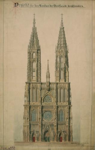 Projet d'achèvement de la façade ouest de la cathédrale de Strasbourg, 1880. Auteur : Charles Winkler (Fondation de l'Œuvre Notre-Dame, dépôt Denkmalarchiv, DRAC Alsace)