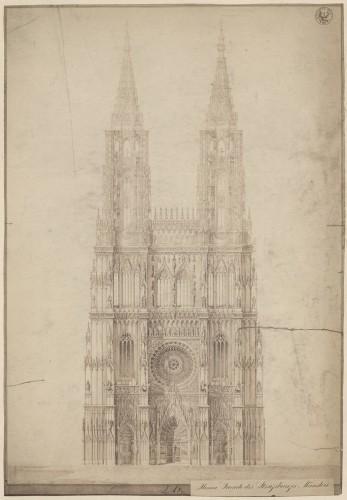 Vue imaginaire de la façade ouest de la cathédrale de Strasbourg avec la projection de la flèche sud (Denkmalarchiv, DRAC Alsace)