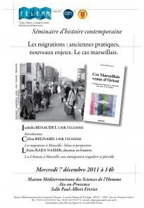 """""""Les migrations : anciennes pratiques, nouveaux enjeux. Le cas marseillais"""", 7 décembre 2011"""