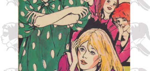 Ficelle et Mademoiselle Bigoudi, illustration de Josette Stéfani pour la deuxième édition de Fantômette contre Charlemagne. La posture répressive de l'institutrice est contrariée par le choix de la représenter de façon moderne, avec un look années 70 prononcé. Cet adoucissement nuit au duel entre les tenants de deux positions antagonistes, celle de l'artiste et celle de la représentante de la norme scolaire.