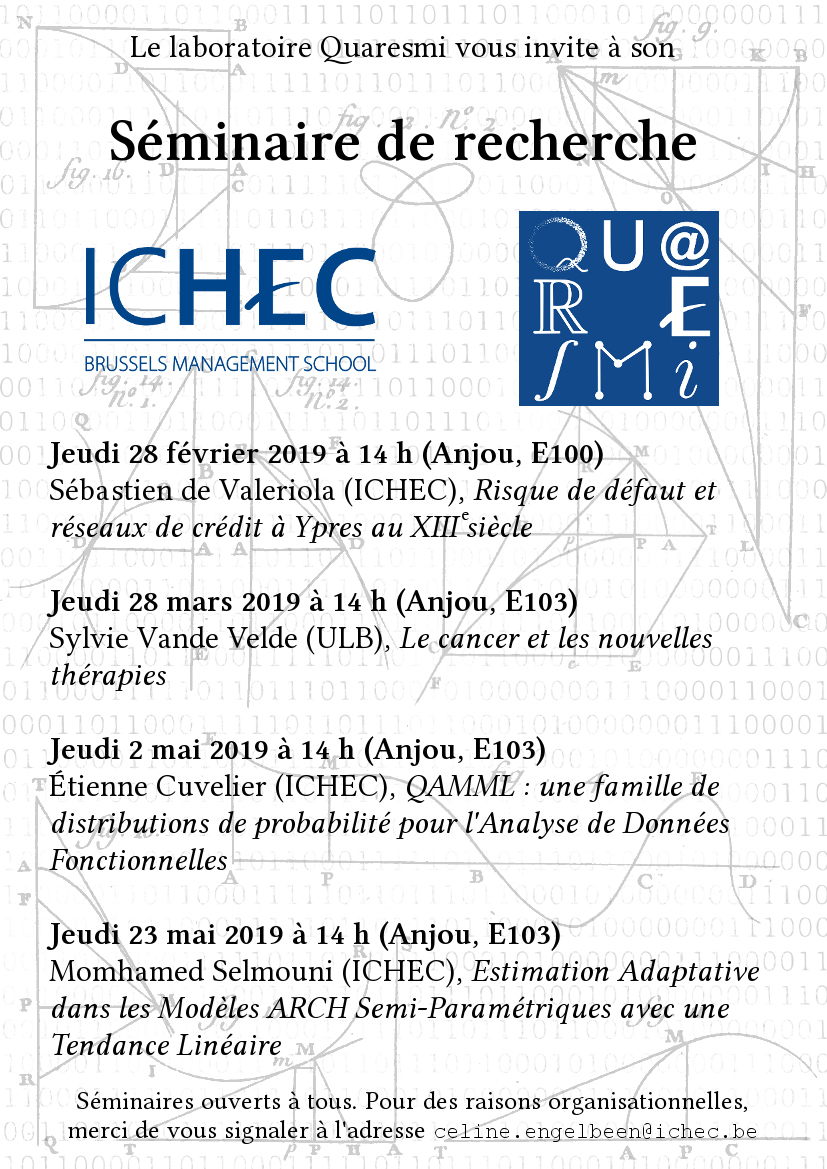 """Affiche des séminaires du laboratoire Quaresmi. Les dates sont aussi disponibles via notre section """"nos activités""""."""