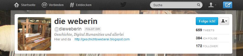 """Profil des Twitter-Accounts der """"Weberin"""""""
