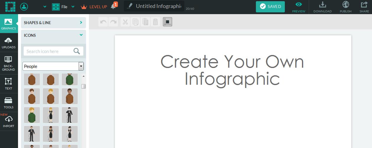 p2_Benutzeroberfläche von piktochart, mit Icons der Kategorie people