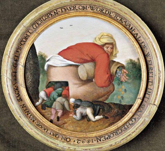 Illustration du n° 19 de la revue en ligne Camenae, Brueghel le Jeune, Les Idolâtres, (1592 – Maastricht, coll. particulière).