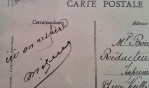 """Ici on respire"" annotation sur une carte postale de 1910 ""La colonie socialiste-Le Grand Air"""