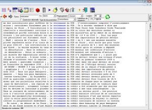 """Capture d'écran du concordancier Lexico 3 - Etude de l'occurrence """"Croissance"""" dans la revue """"Finance & développement"""" du FMI"""
